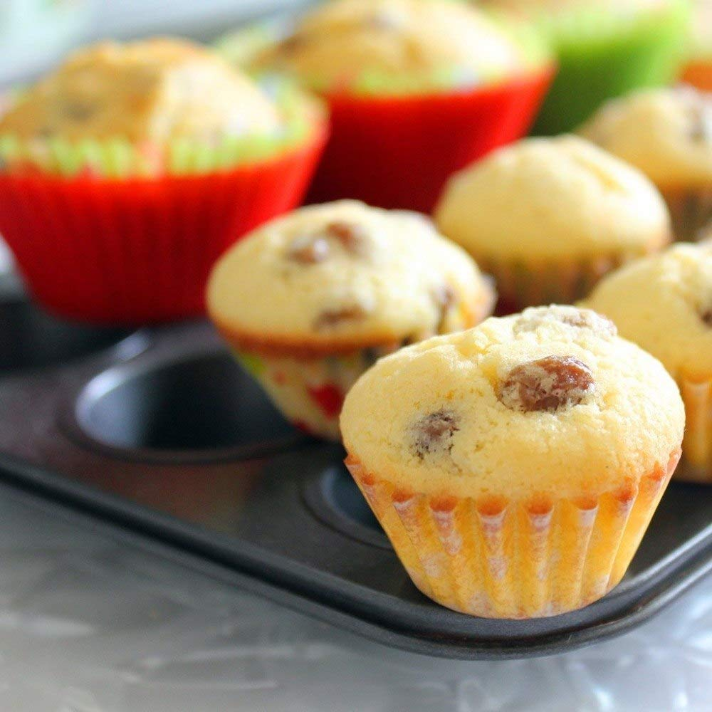Silicone Baking Cups Muffin Cupcakes Liners Molds Sets in Storage Container-36 Pack by IELEK (Image #4)