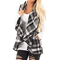 Women Lapel Open Front Sleeveless Plaid Vest Cardigan Coat Jacket Pockets