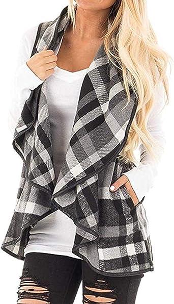 SENSERISE Womens Lapel Open Front Sleeveless Plaid Vest Cardigan with Pockets