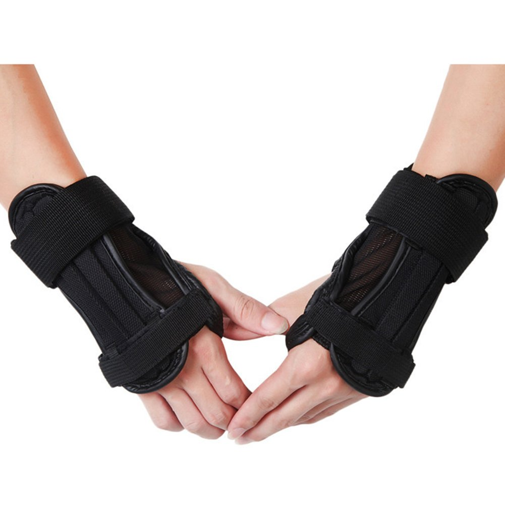 1 Pair Wrist Guard Protective Gear Gloves Skiing Snowboard Cycling Hand Palm Protection Gloves Wrist Support Brace Black M