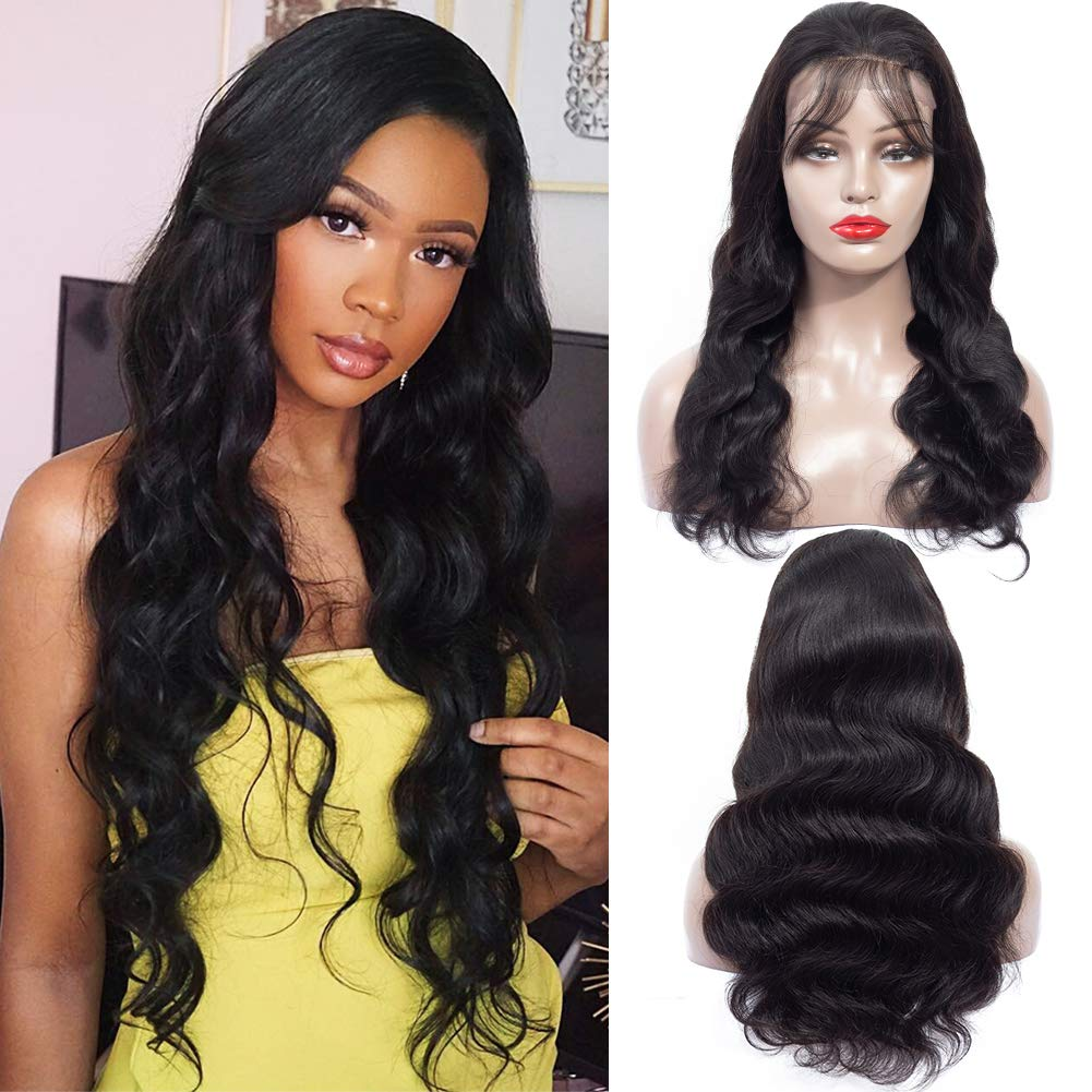 B07SDC353G Hermosa Lace Front Human Hair Wigs for Black Women 13x4 150% Density Brazilian Body Wave Human Hair Lace Front Wigs Pre Plucked with Baby Hair (24 Inch) 61nH5nZZBbL._SL1001_