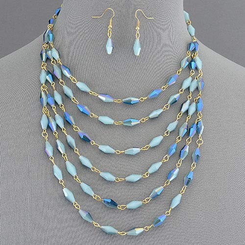 Shimmery Crystal Urban Couture Statement Bib Necklace With Earrings Set For Women