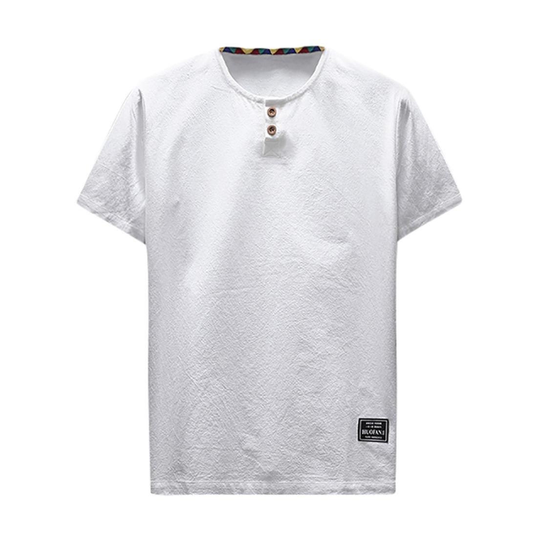 29c888205f74b7 TEELONG Herren Sommer Lässige Bettwäsche und Baumwolle Kurzarm V-Ausschnitt  T-Shirt Top Bluse Tee Hemd Weste Sweatshirt Baumwollshirt Longshirt ...