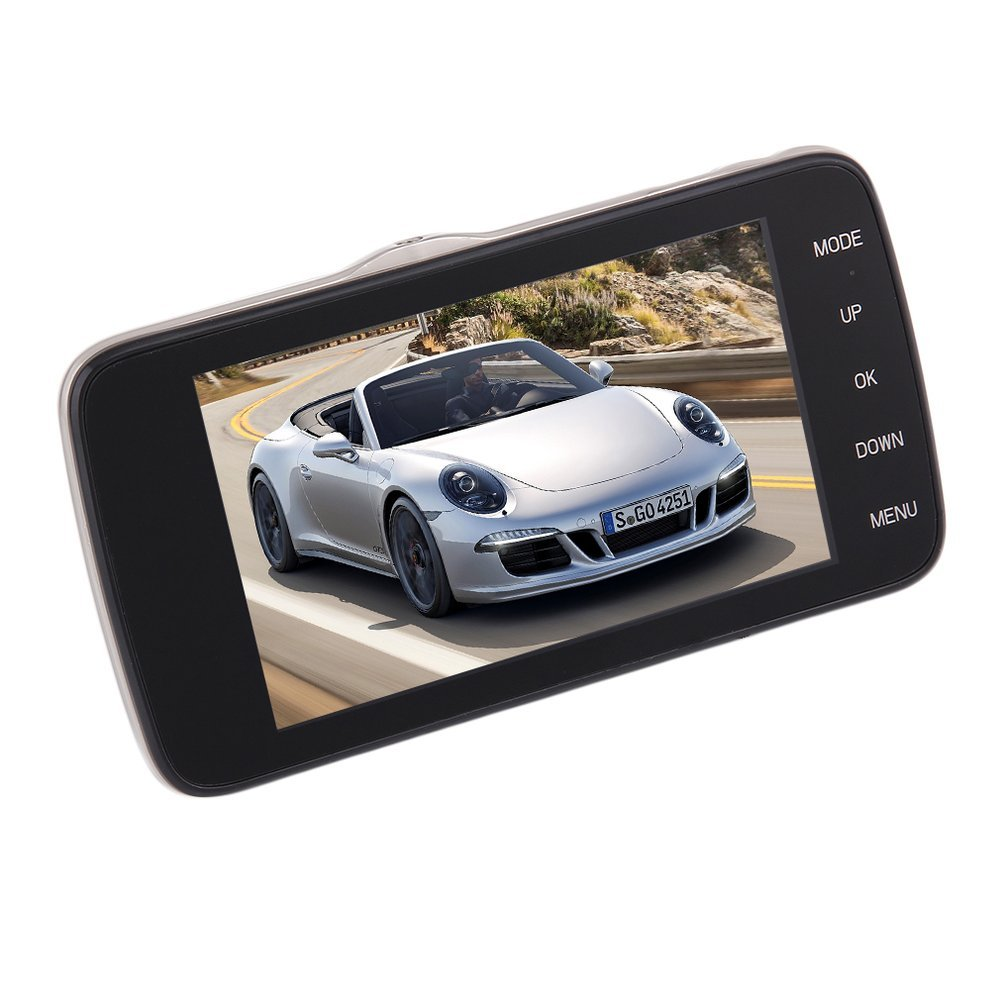 Car Auto 4.0 pulgadas Full HD 1080P Car DVR Camera Recorder Dual Lens GPS Logger (Color negro principal)