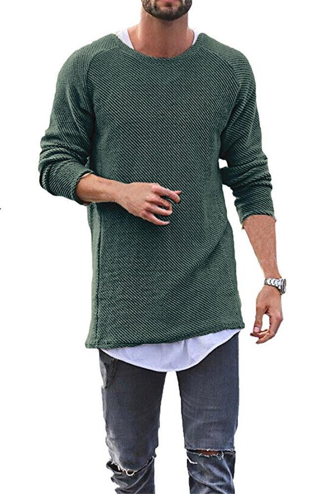 SurBepo Mens Casual Solid Round Neck Long Sleeve Knit Sweaters (Green S)