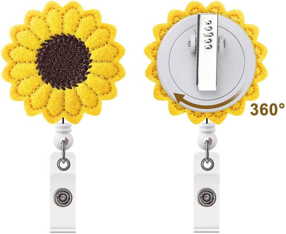 Sunflower Nurse Badge Reel Holder, Accurate Stitching, Reinforced Strap, Easy Retracting, Alligator Clip, Perfect Gifts for Women Nurse Teacher Office Students Volunters (2 Pack)