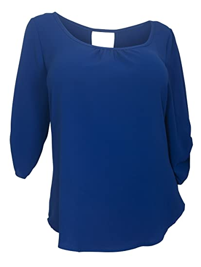 8556348fcd8 eVogues Plus Size Wide Scoop Neck Open Back Top Royal Blue - 2X at ...