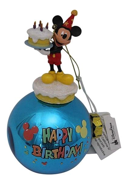 Amazon.com: Mickey Mouse Feliz cumpleaños Navidad Ornamento ...
