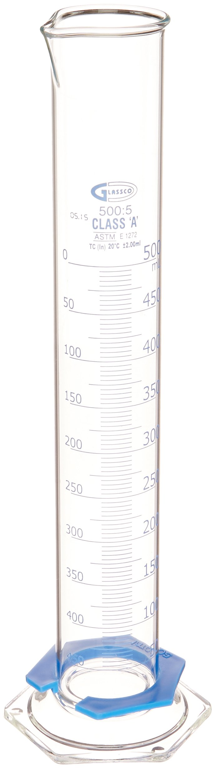 United Scientific CY3021-500 Borosilicate Glass Graduated Cylinder with Hexagonal Base and Bumper Guard, Single Scale, Class A, Batch Certified, 500ml Capacity