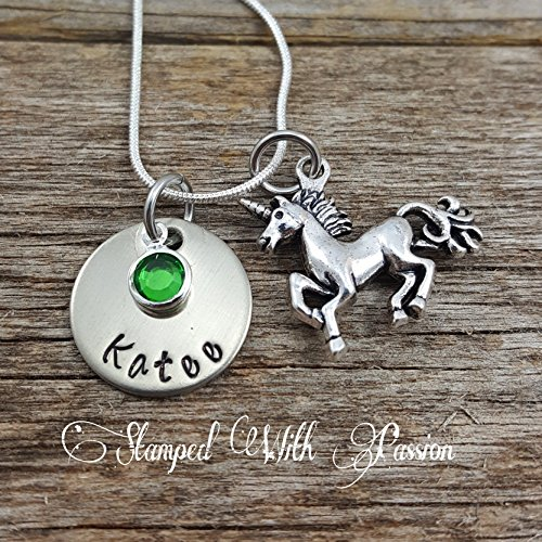 Little Grand (Unicorn Necklace with name plate and birthstone - Daughter necklace, sister necklace. little girl necklace, grand daughter necklace, Unicorn)