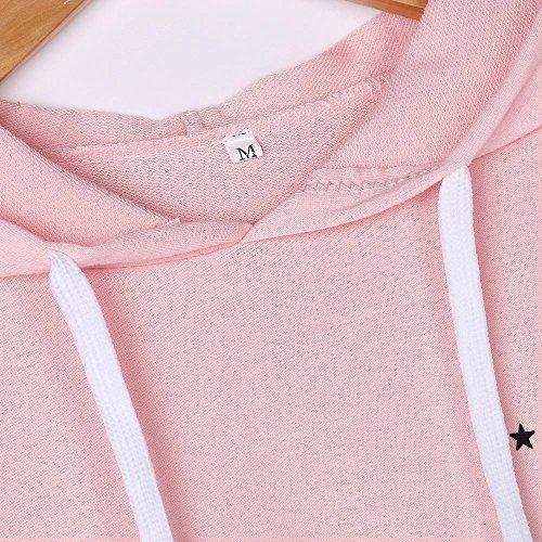 Blouse Lenfesh Imprimé Causal Sweat Femmes Vêtements Longues Tops Capuche Pour À Rose Mode De Manches qpUOq