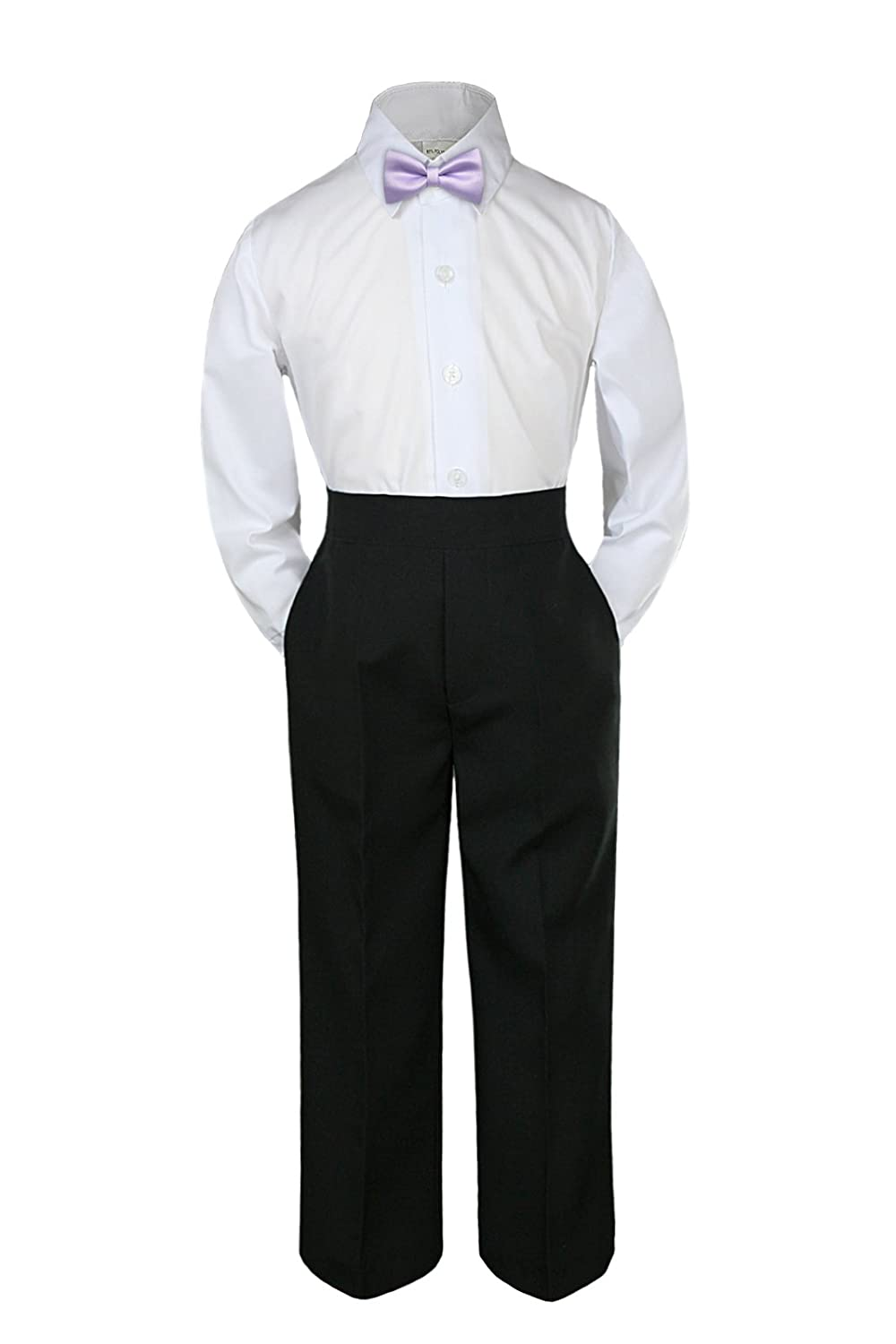 3pc Shirt Black Pants Bow Tie Set Baby Toddler Kid Boy Party Formal Suit 8-20