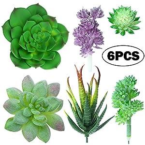 YBLNTEK Artificial Succulent Plants, Assorted Succulent Picks Fake Succulents Unpotted for Floral Arrangement Home Decoration, 6 Pieces 104