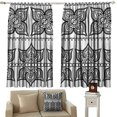 for Living Room Henna Antique Border Designs with Lotus Inspired Ornate Flower Figures Moroccan Details Thermal Insulated Tie Up Curtain W55 xL45 Black White ()