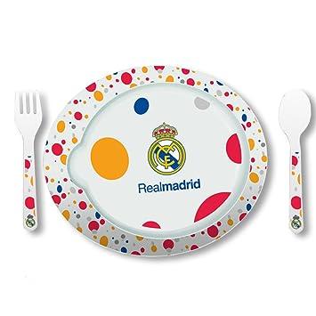 Real Madrid - Pack de 3 piezas vajilla microondas, 22 x 19 cm (Seva 9201060): Amazon.es: Juguetes y juegos