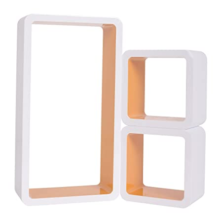 mobili rebecca set of 3 wall shelves display unit wood white orange rh amazon co uk 3 inch deep wall shelves 3 inch deep wall shelves