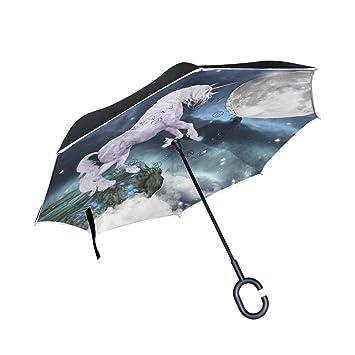 jstel doble capa puede unicornio luna paraguas coches Reverse resistente al viento lluvia paraguas para coche