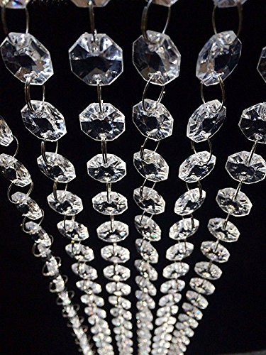 HOHIYA Sparkle Acrylic Crystal Clear Garland Hanging Bead Chandelier Curtain Wedding Centerpieces Party Decorations(Clear,pack of 30FT)