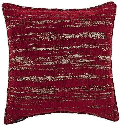 McAlister Textured Chenille Filled Decorative Boudoir Pillow | 18x12 Burgundy Red with Silver Metallic Effect | Retro Rustic Accent Décor Designer Style Accent Chair