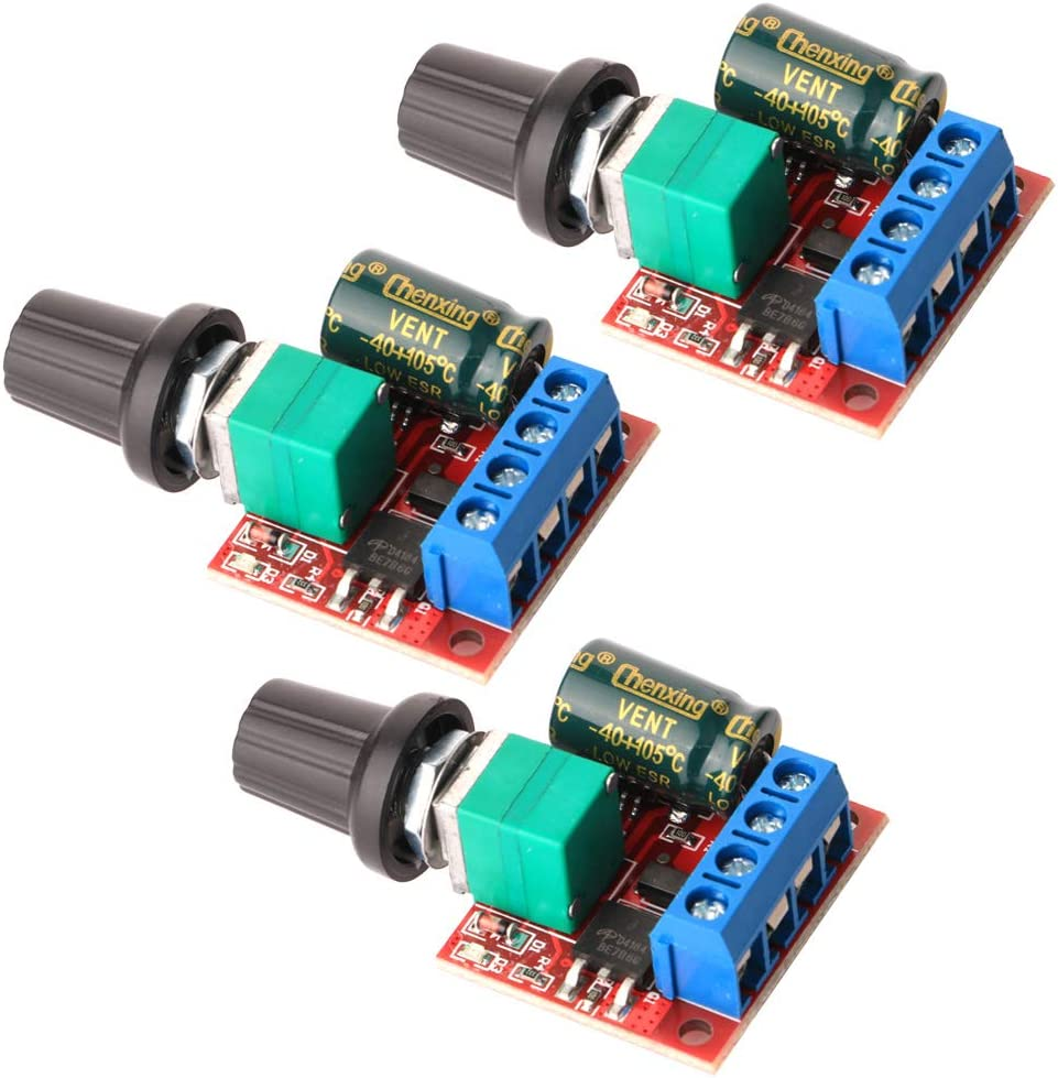 Gebildet 3 Piezas Mini DC Motor PWM Velocidad Controlador, DC 5V-35V 5A Interruptor Ajustable del Velocidad, 6V 12V 24V Regulador de Voltaje Variable con Indicador LED
