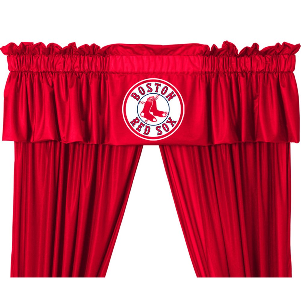 amazoncom boston red sox logo jersey material valance home kitchen - Boston Red Sox Bath Accessories