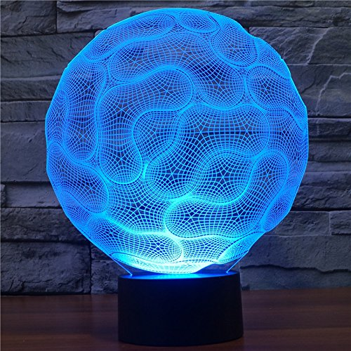 Acrylic Lamp Light One Table (YANGHX 3D illusion Lamp 3D Brain illusion Light 100~240v Night 7 Color change LED desk table light lamp (Color: Multicolor))