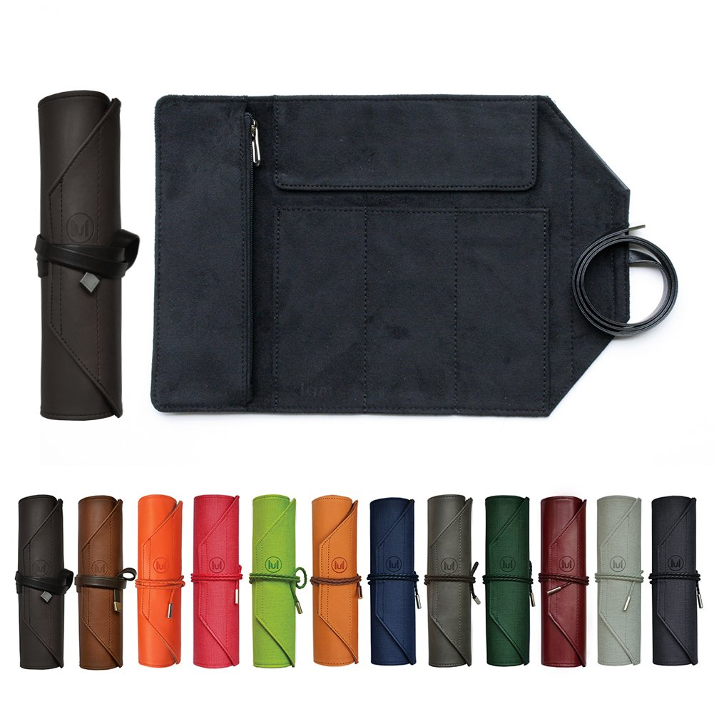 ContRoll Original Large-size Roll-up Pencil Case Pouch, Smooth Black