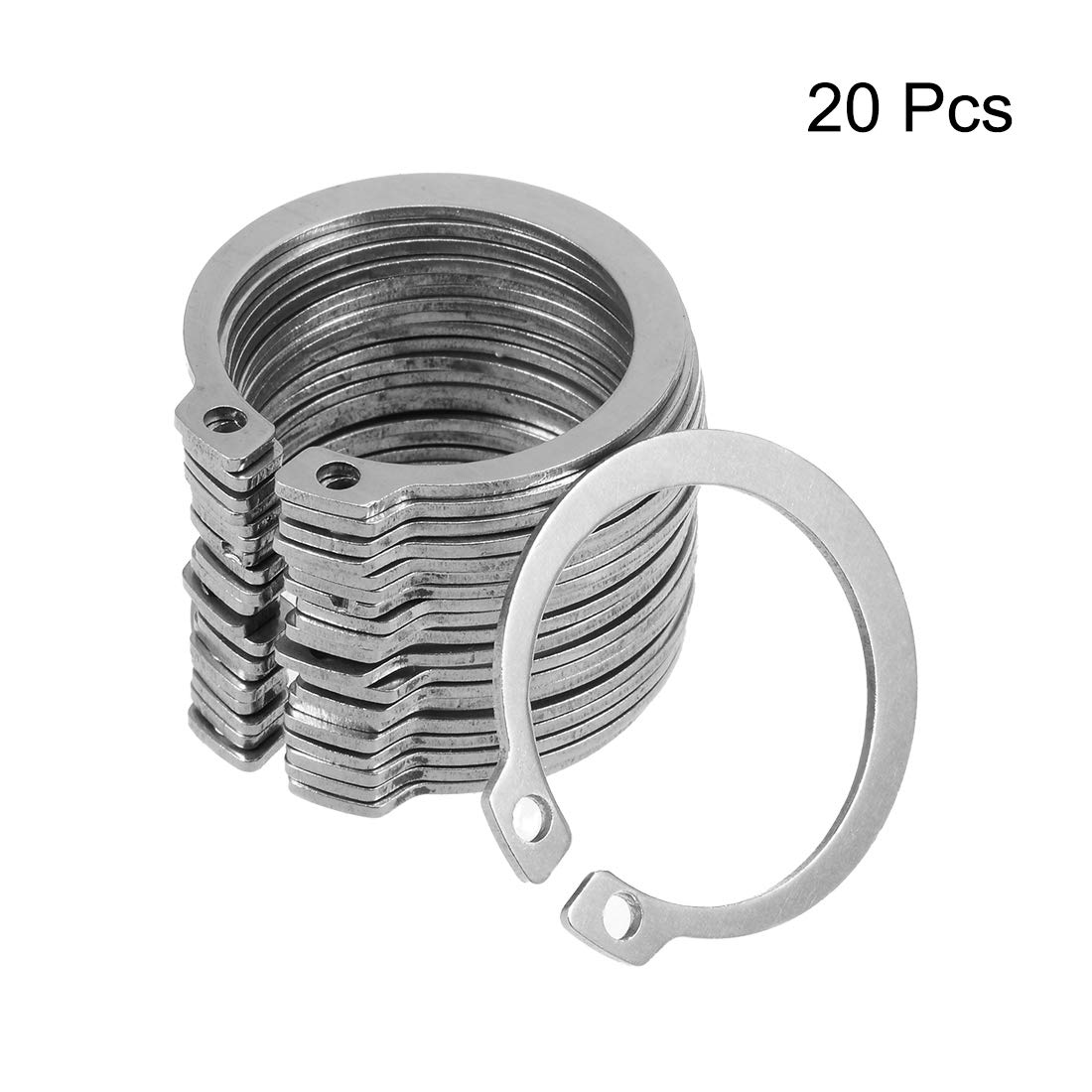 uxcell 39mm External Circlips C-Clip Retaining Snap Rings 304 Stainless Steel 20pcs