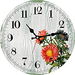 ShuaXin Flower Round Wall Clocks Living Room Decorative Vintage Country French Style Wooden Clock (12, B)