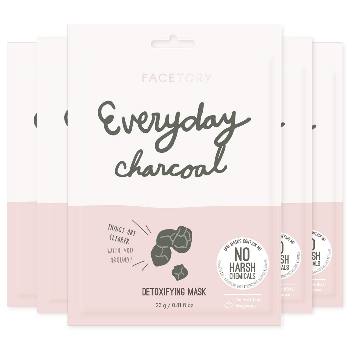Everyday Charcoal Detoxifying Mask With No Harsh Chemicals - Clarifying, Oil Controlling, and Hydrating (Pack of 5)