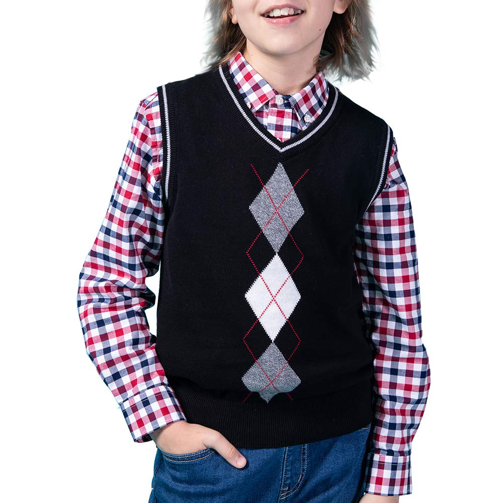 Benito & Benita Boys' Sweater Vest School V-Neck Uniforms Pullover Sweaters with Argyle Patterns for Boys 3-12Y Black