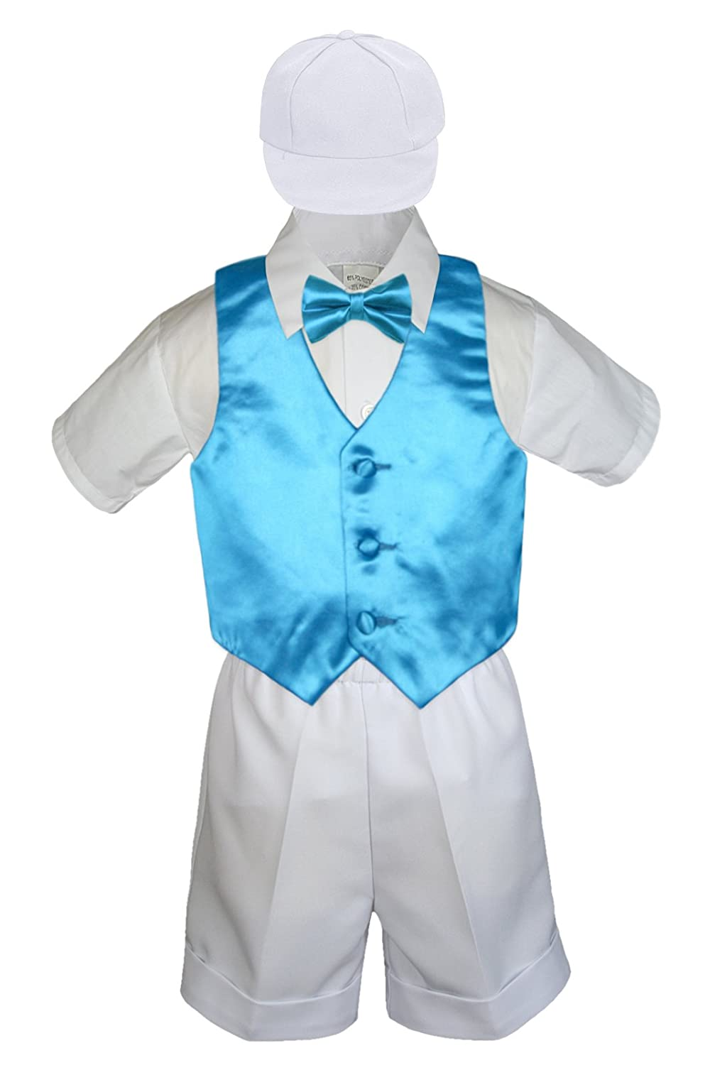 5pc Baby Toddler Boys Turquoise Blue Vest Bow Tie Set White Suits S-4T M: 6-12 months