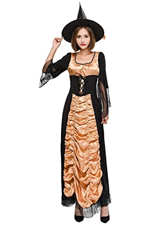Amazon.com: Mucloth Disfraz de Halloween Witch Maxi vestido ...