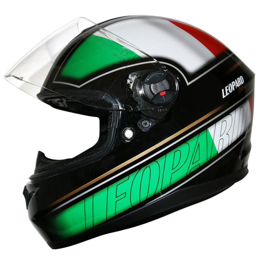 Leopard LEO-828 DVS Full Face Motorbike Helmet Black M 57-58cm - Double Visor Motorcycle Helmet