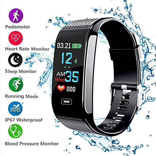 Heart Rate Counter - 2018 New Updated Fitness Tracker with Pedometer Heart Rate Monitor Calories Burned Smart Bracelet Bluetooth IP67 Waterproof Color Screen for Android and IOS Iphone Kids Men Women