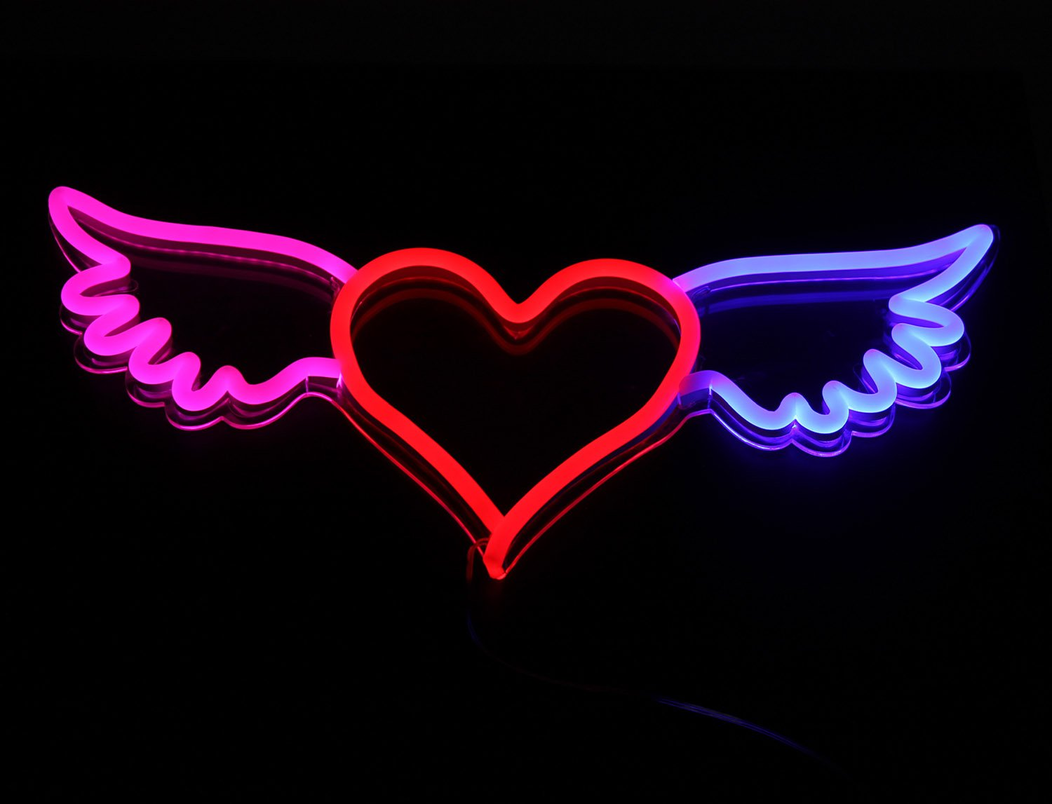 New Neon Sign Heart 'Heart with Wings' Cool LED Lamp Light 24''x 11.2'' For Home Bedroom Beer bar Pub Hotel Beach Recreational Game Room LED Neon Signs Handmade Designed By Vasten (Milky White Jacket)