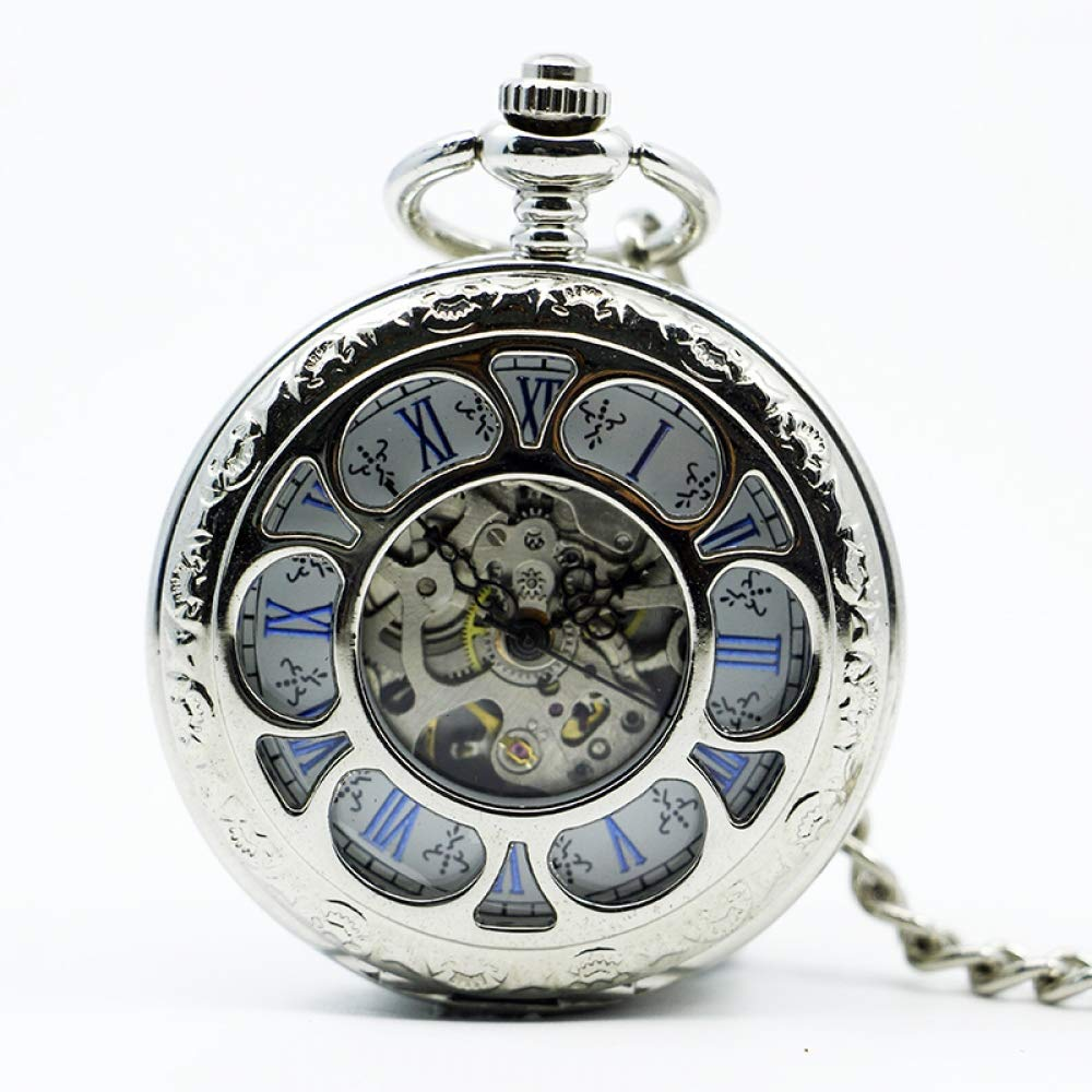 DYH&PW Fashion Silver Flower Hollow Double Opened Flip Mechanical Pocket Watch Skeleton Roman Dial Women's Watches, A