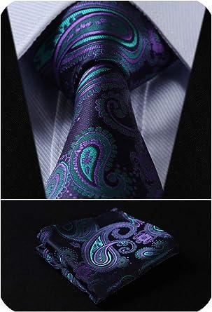 HISDERN Corbata de hombre Pa/ñuelo Conjunto de corbata formal y pa/ñuelo de bolsillo para negocios de boda