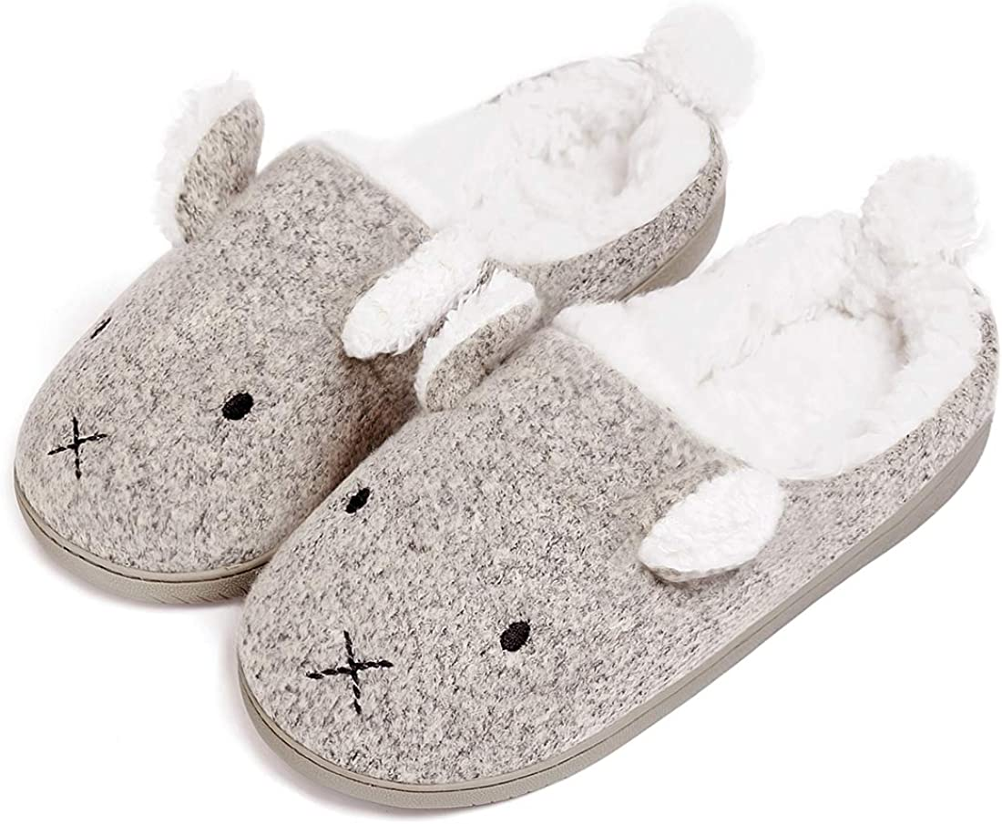 Neeseelily Women Comfort Plush Anti-Slip Home Slippers Animal Slip On Indoor Slippers