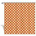 CafePress Orange and Cream Polka Dots Pattern Shower Curtain