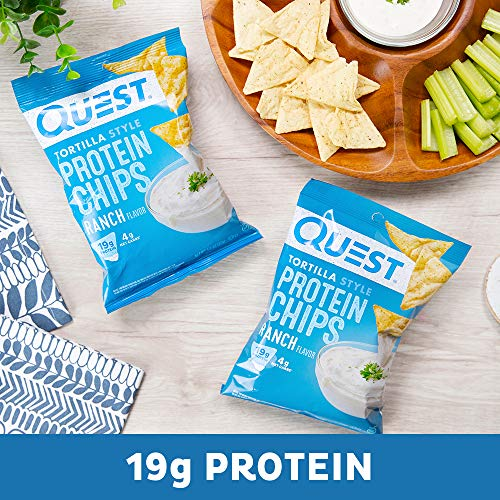 Quest Nutrition Tortilla Style Protein Chips, Ranch, Low Carb, Gluten Free, Baked, 8 Count