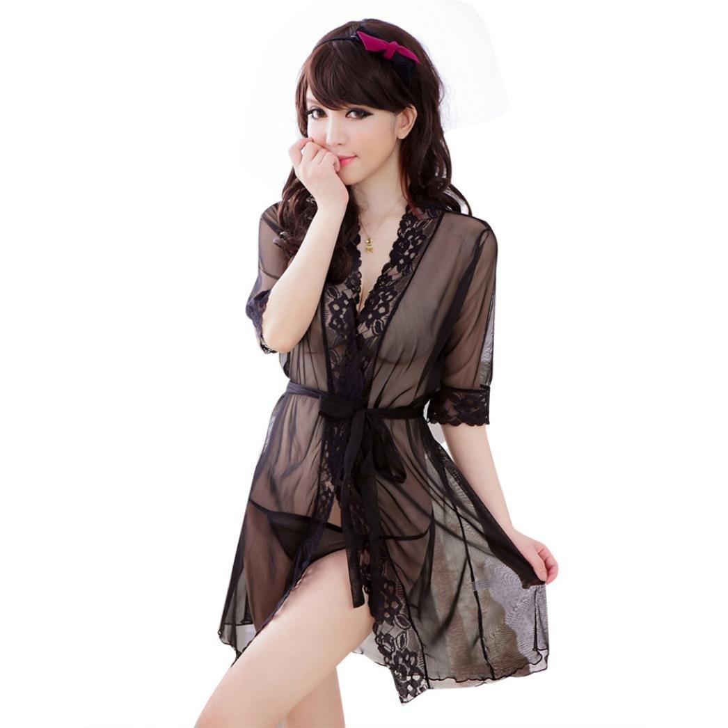 Lencería Mujer, Amlaiworld Vestido transparente de la ropa interior del camisón del cordón Amlaiworld Lencería Mujer Amlaiworld_4