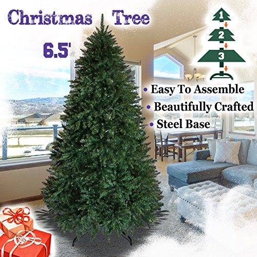 Fir Unlit Artificial Christmas Tree (BenefitUSA Artificial PVC Christmas Tree Full Tree with Metal Stand Xmas Holiday Decoration (6.5' with 1880 Tips))