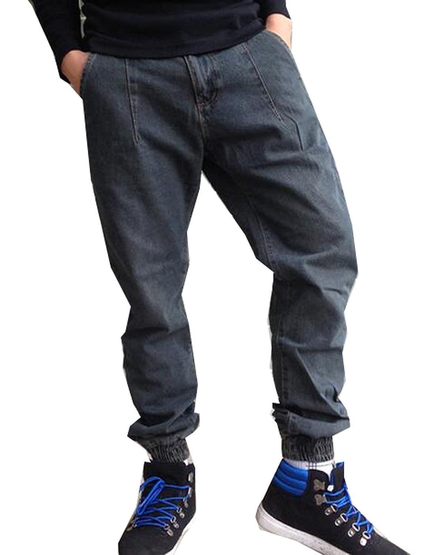 Vska Mens Hip Hop Washed Jean Harem Baggy Jogger Skateboard Pants