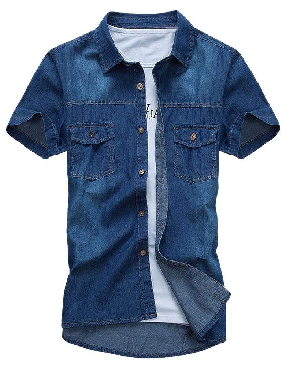 ouxiuli Mens Shirt Jeans Cotton One Piece Slim Fit Hobbledehoy Short Sleeve Short Vest