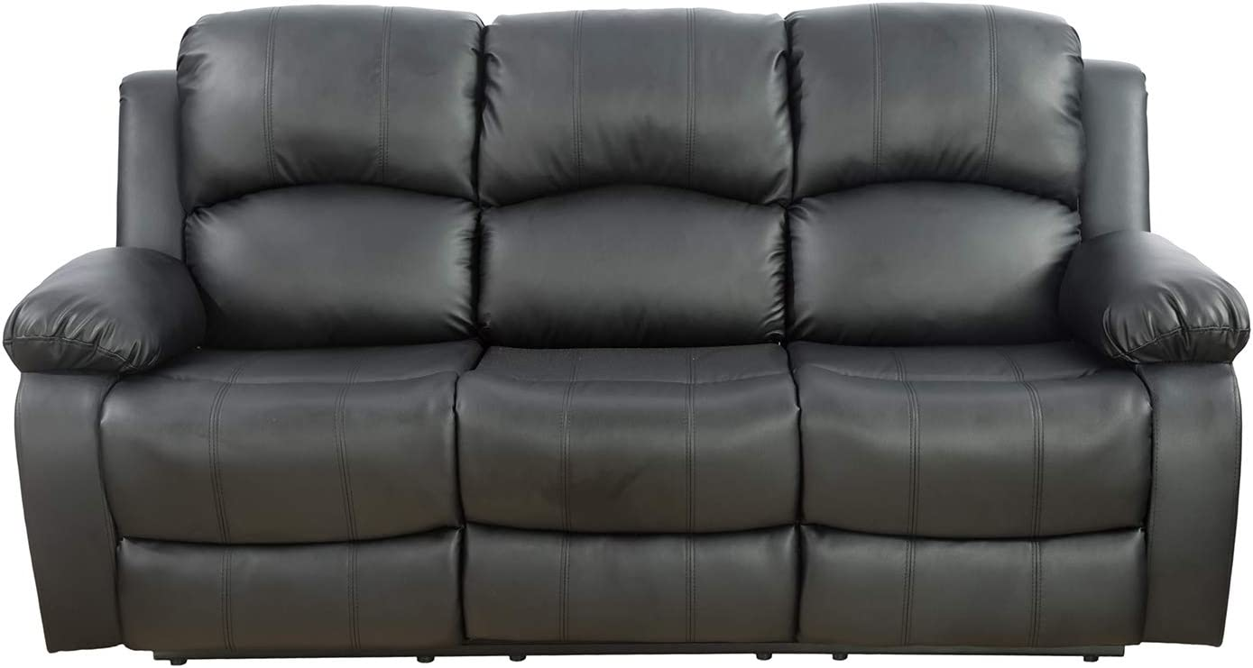 Ainehome Furniture Recliner Sofa with Drop Tray Bonded Leather Motion Adjustable Sofa Loveseat Recliner Sofa Recliner Couch Manual Reclining Chair 3 Seater (Black,Sofa)