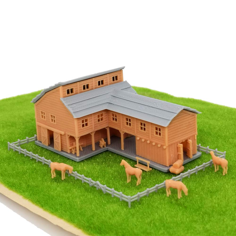 Outland Models Railroad Scenery Country L-Shape Barn House w Accessories Z Scale