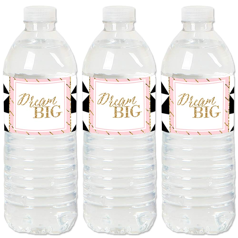 Set of 20 Graduation Party Water Bottle Sticker Labels Dream Big