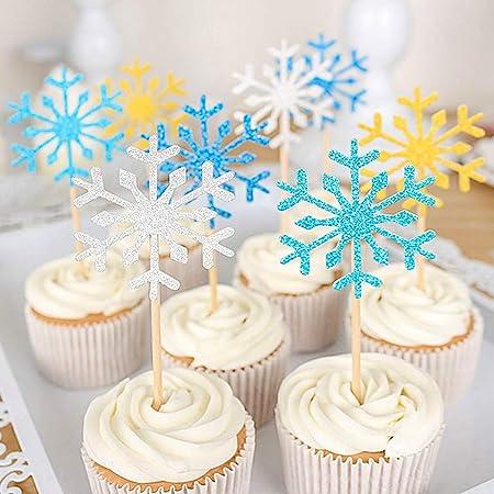 Amazon.com: hansgo 40 Pcs Copo de Nieve Cupcake Toppers ...