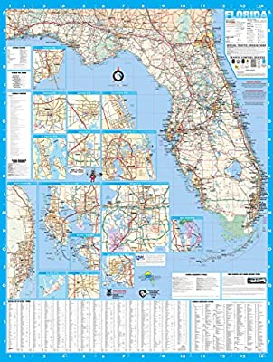 Amazon.com : Florida State Laminated Wall Map Poster 48x64 : Office on